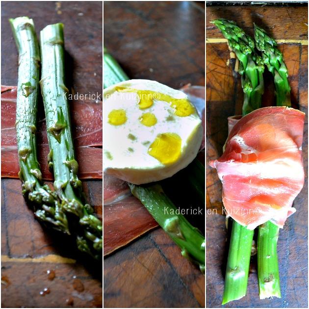 Recette asperges bio - Asperges vertes roulées au jambon italien et fromage