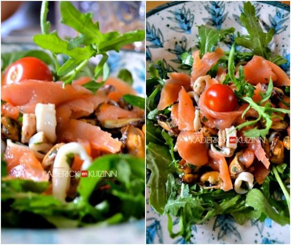 Salade mer - Salade en chaud-froid, saumon, crevette, calamar et moule à la plancha