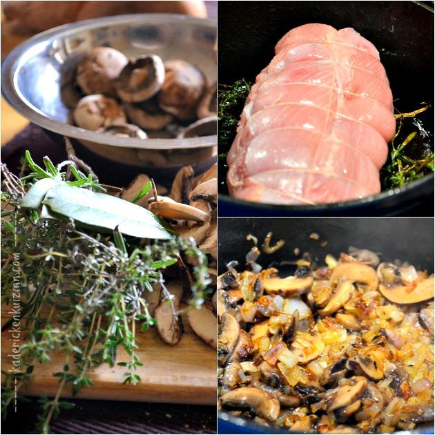 Recette dinde - Roti cocotte aux asperges et sauce champignon