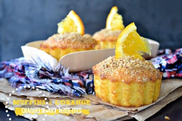 Muffins orange - Recette muffins à l'orange et craquelin aux noisettes