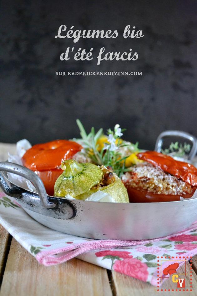 Courgettes tomates - Légumes bio farcis ratatouille et trio de céréales bio