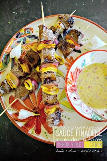 Brochettes boeuf - Plancha de boeuf sauce finadene au citron et moutarde aux épices