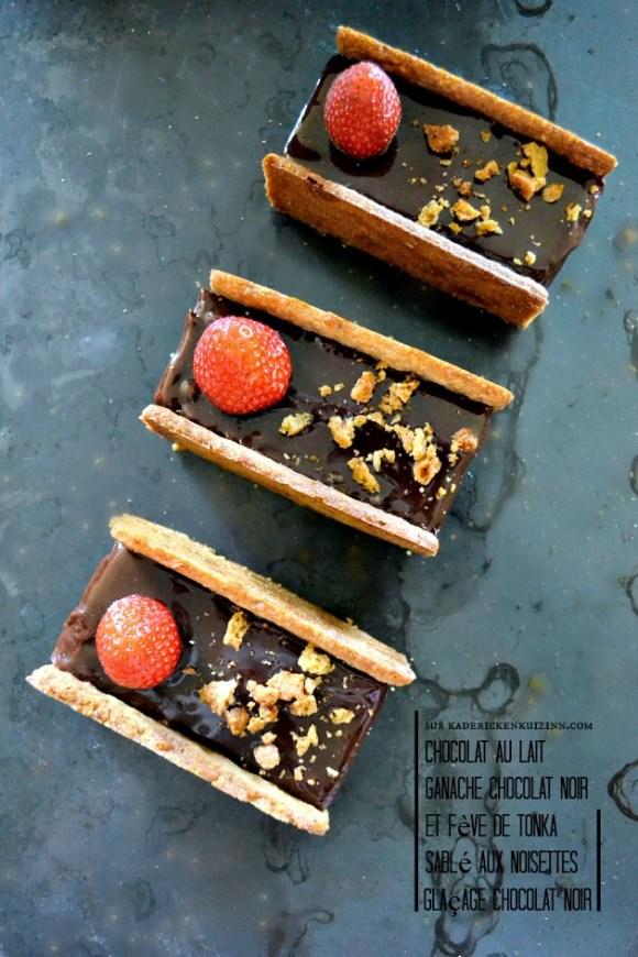 Dressage gâteau l'intense brownie, ganache et glaçage au chocolat