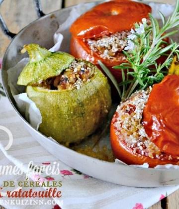 Courgettes et tomates - Légumes farcis ratatouille et trio de céréales