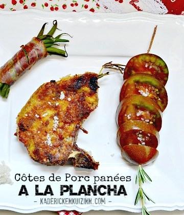 Recette plancha porc - Côtes panées au fromage et romarin