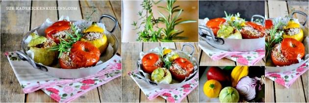 Courgettes tomates - Légumes d'été bio farcis ratatouille et trio de céréales bio