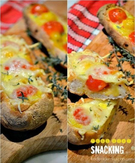 Eggs boat - Pains maison aux œufs brouillés, tomates et fromage