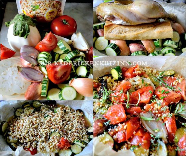 Poulet roti - Poulet aux légumes d'été rôtis et trio de céréales bio