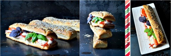 Sandwich panini - Pain de mie au jambon chorizo mozzarella tomate basilic