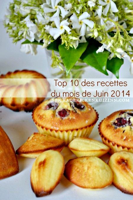 Juin 2014 – Top 10 des recettes du mois de Juin 2014