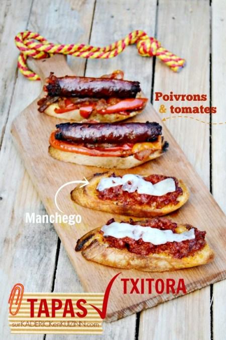 Recette tapas - Tartine de saucisse basque Txitora poêlée poivrons et fromage
