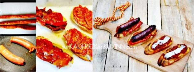 Recette tapas - Tartine de saucisse basque Txitora poivrons et fromage