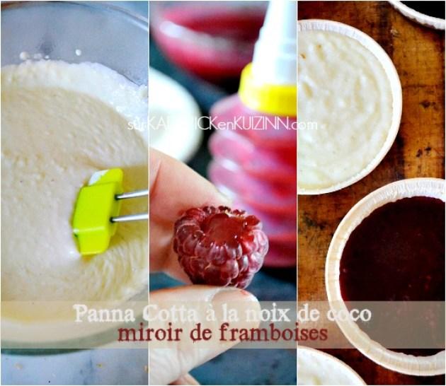 Panna cotta recette - Panna cotta cookies noix de coco et gelée framboise