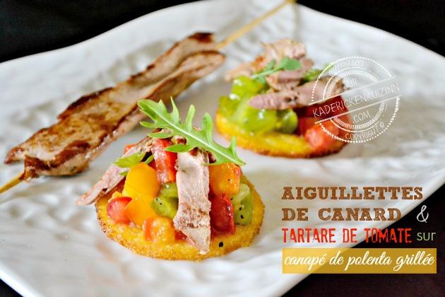 Toast canard - Aiguillette à la plancha trio de tomate et polenta