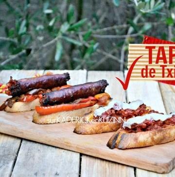 Recette tapas - Tartine de saucisse Txitora poivrons et fromage