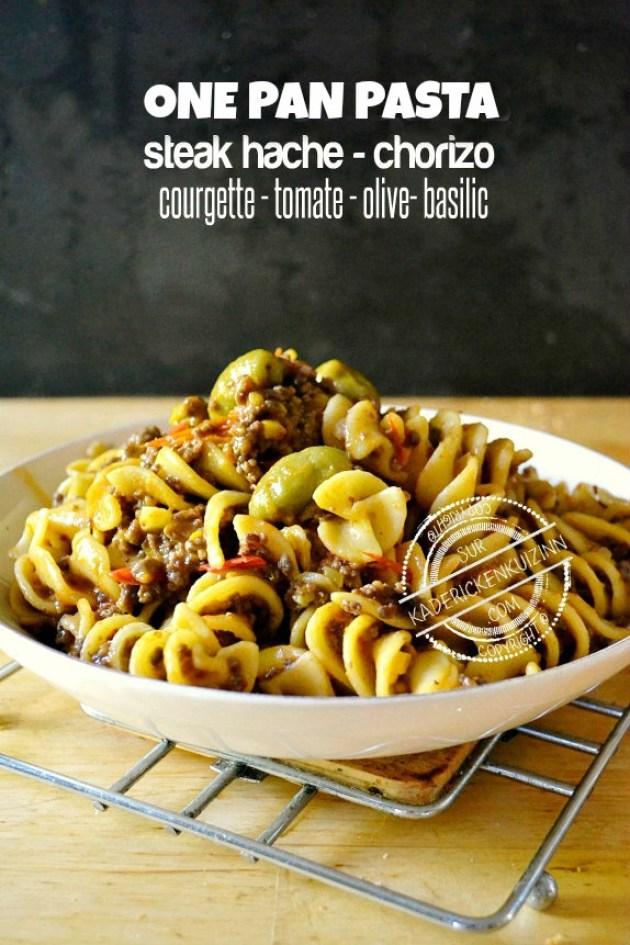 One pan pasta - Pâtes fusilloni à la bolognaise chorizo et légumes