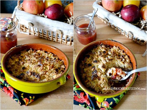 Crumble prunes - Recette crumble pommes prunes amandes bio