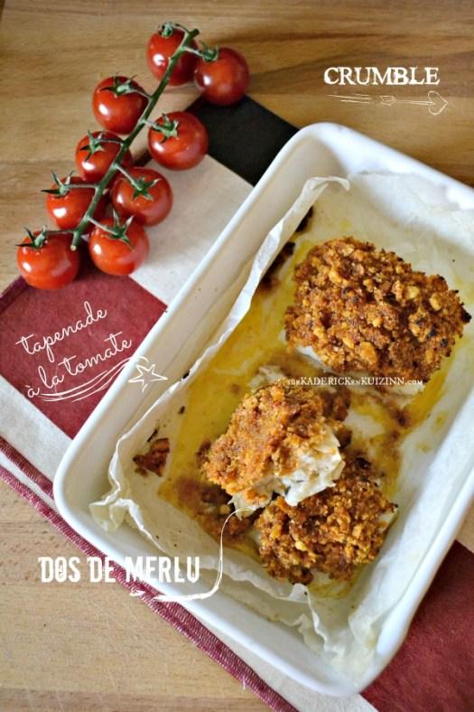 Recette four - Dos de merlu en crumble de tapenade tomate confite