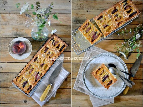 Tarte madeleine - Recette de tarte madeleine aux pêches bio pour le goûter