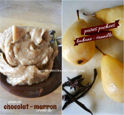 Charlotte poires - Charlotte ganache chocolat et crème de marron
