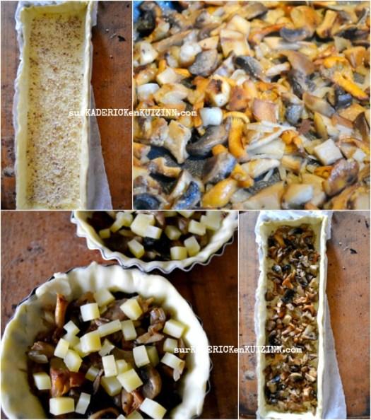 Recette quiche - Quiche cèpes, girolles, marrons et ossau iraty