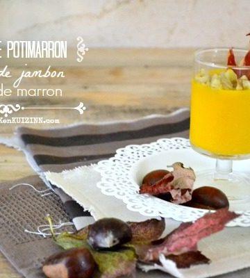 Verrines potimarron - Velouté au jambon et marron - Kaderick en Kuizinn