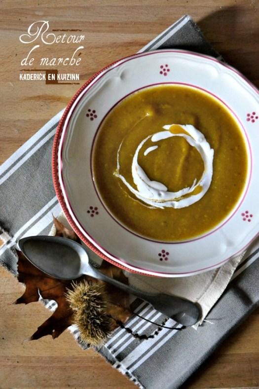 Soupe moulinee bio de potimarron, butternut, pâtisson et champignon - Kaderick en Kuizinn