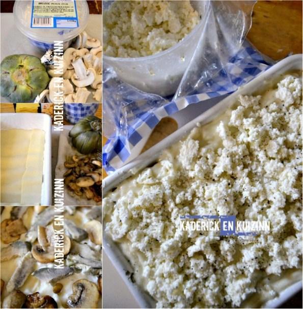 Préparation lasagnes fraiches brousse artichaut et champignon - Kaderick