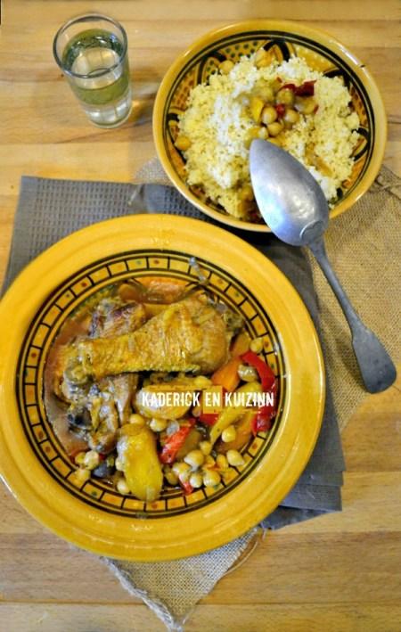 Dégustation cuisses poulet - Tajine poulet carottes et pâtisson - Kaderick en Kuizinn