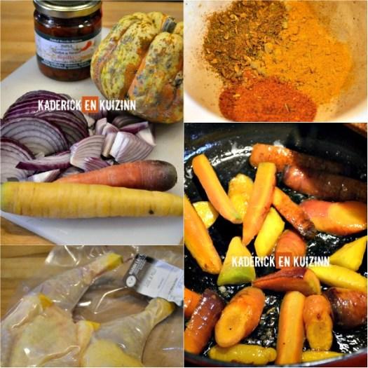 Préparation cuisses poulet - Tajine poulet carottes et pâtisson - Kaderick en Kuizinn