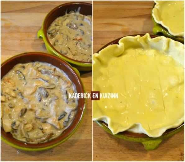 Préparation tourte poulet, champignons et noix de Kaderick en Kuizinn