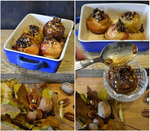 Présentation pomme au four crumble aux noix, pécan et sirop d'érable - Kaderick en Kuizinn