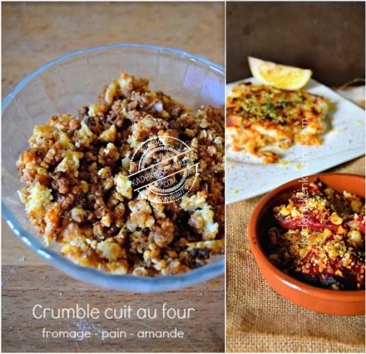 Recette crumble salé et croustillant au fromage pain et amande - Kaderick en Kuizinn