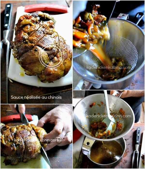 Découpe agneau paques et préparation du jus