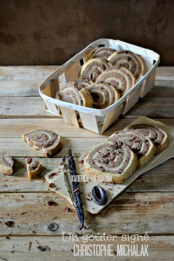 Dégustation sables escargots - Sablés vanille chocolat Michalak de Kaderick en Kuizinn