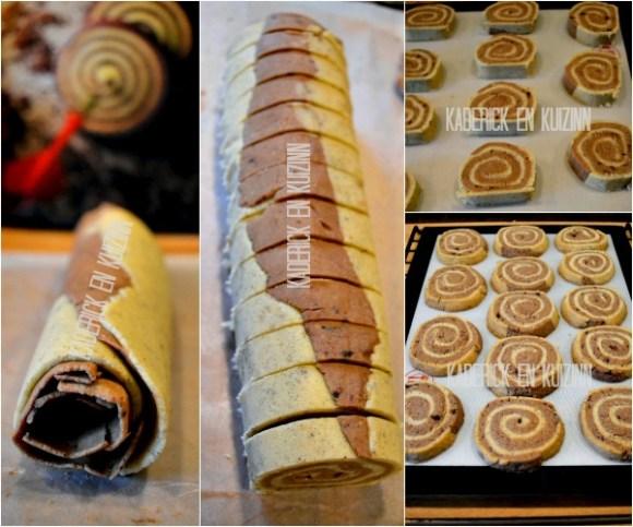 Préparation sables escargots - Sablés vanille chocolat Michalak de Kaderick en Kuizinn