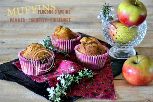Recette muffins pommes aux flocons d'avoine cannelle et gingembre - Kaderick en Kuizinn