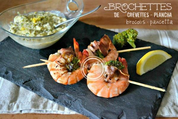Recette crevettes - Plancha brochettes de crevettes brocolis chez Kaderick en Kuizinn