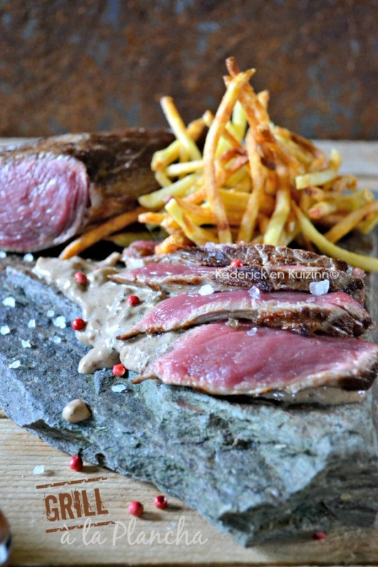 Recette grill plancha rumsteak - Recette rumsteak plancha sauce poivre chez Kaderick en Kuizinn©