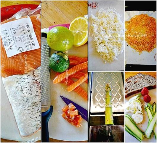 Préparation de la Tartine ceviche truite tuile Ossau-Iraty légumes crus chez Kaderick en Kuizinn