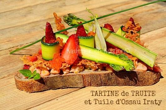 Recette Tartine ceviche truite tuile Ossau-Iraty légumes crus chez Kaderick en Kuizinn