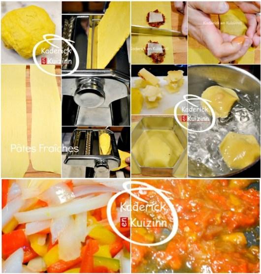 Préparation et cuisson ravioli - Raviole pâte fraiche confit oignon et poivron chez Kaderick en Kuizinn