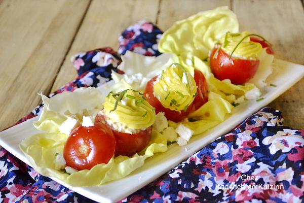 Recette tomates - Petites tomates farcies thon feta entrée chez Kaderick en Kuizinn
