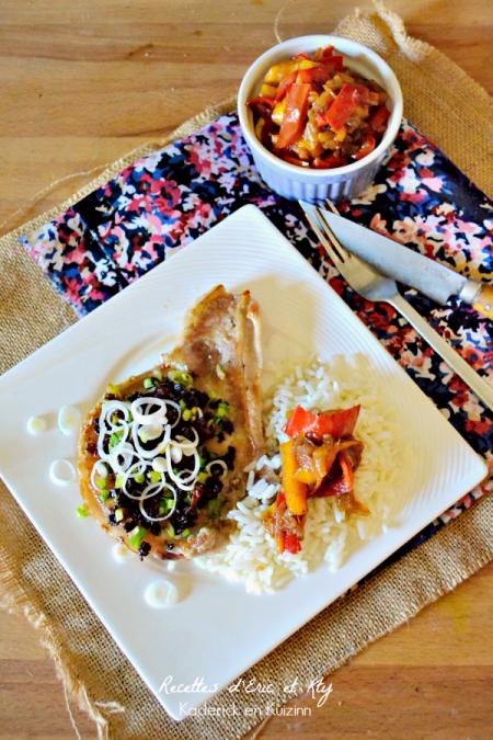 Aout 2015 Dégustation grillade plancha - Côtes de porc crunch chorizo et poivron plancha Eno® chez Kaderick