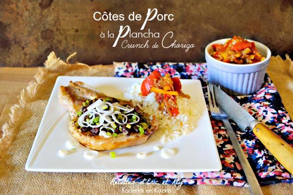Grillade plancha - Côtes de porc crunch chorizo et poivron plancha Eno® chez Kaderick