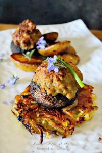 Dégustation champignons farcis veau jambon et rostis plancha Eno chez Kaderick en Kuizinn