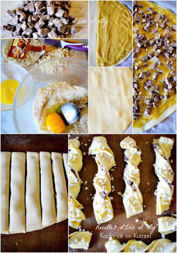 Préparation recette sacristains amandes pignons toblerone chez Kaderick en Kuizinn