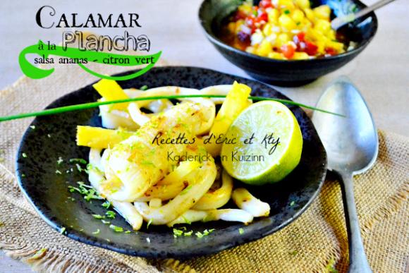 Recette calamar plancha - Calamar grillé plancha Eno salsa chez Kaderick en Kuizinn