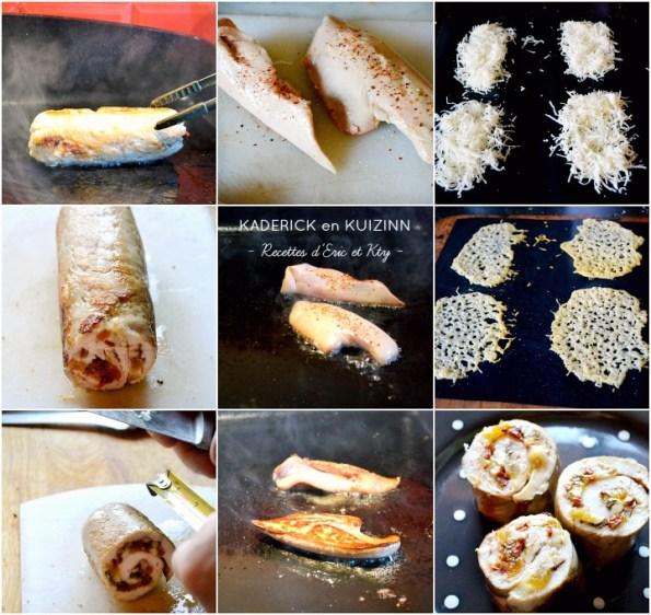 Cuisson plancha ballotine poulet farci et escalope foie gras