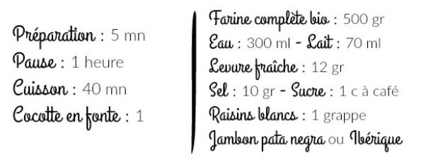 Liste ingrédients pain cocotte raisins blancs et jambon ibérique